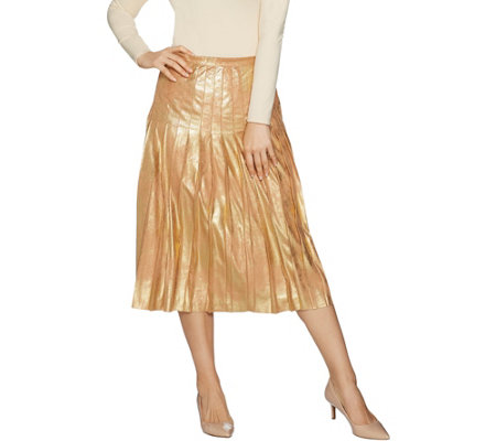 """As Is"" Du Jour Metallic Faux Suede Pleated Midi Skirt"