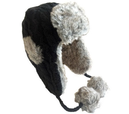 Nirvanna Cable Russian Earflap with Faux Fur Lining