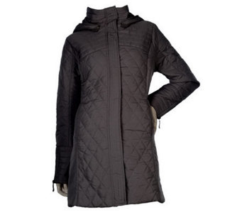 George Simonton Zip Front Quilted Coat with Removable Hood - A218183