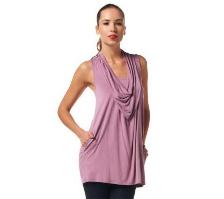 LOGO by Lori Goldstein Cowl Neck Tank Top with Pockets