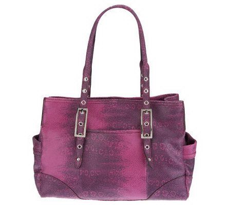 B. Makowsky Ring Lizard Embossed East/West Satchel