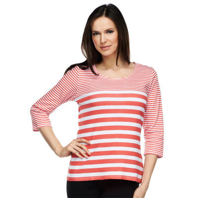 Liz Claiborne New York 3/4 Sleeve Scoop Neck Striped T-Shirt
