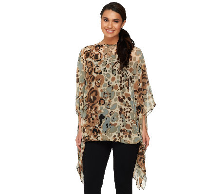 Attitudes by Renee Printed Scarf Top with Knit Cami