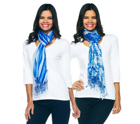 Isaac Mizrahi Live! Floral & Stripe Set of Two Scarves