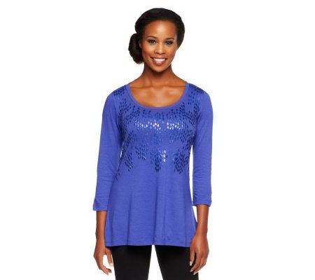 LOGO by Lori Goldstein 3/4 Sleeve Knit Top with Embellishment
