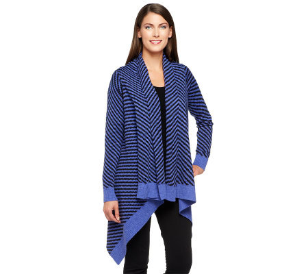Liz Claiborne New York Chevron Stitch Cascading Cardigan