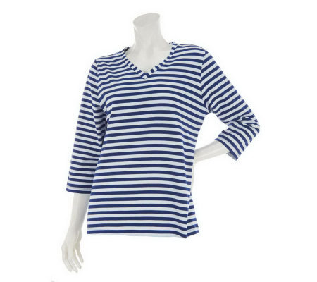 """As Is"" Denim & Co. 3/4 Sleeve V-Neck Striped Knit Top"