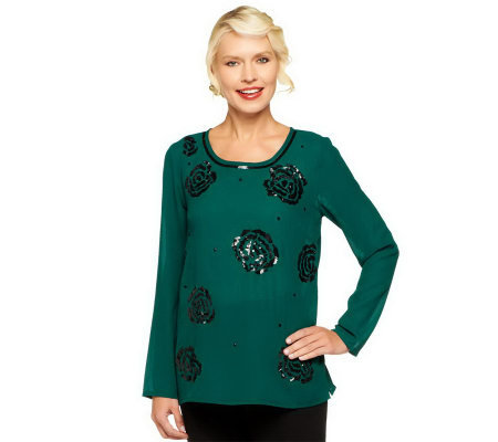 Kelly by Clinton Kelly Rose Sequin Embellished Chiffon Blouse