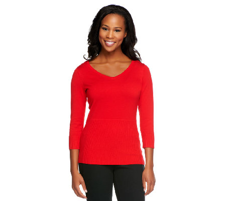 Linea by Louis Dell'Olio Whisper Knit V-Neck 3/4 Sleeve Top