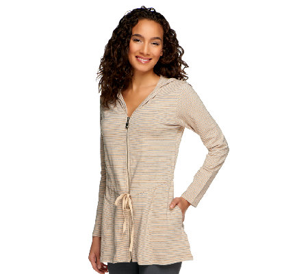 Lisa Rinna Collection A-Line Zip Down Hooded Tunic