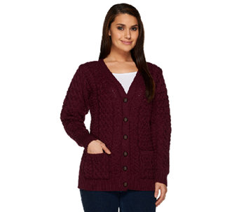 Aran Craft Merino Wool V-Neck Button Front Cardigan - A251983