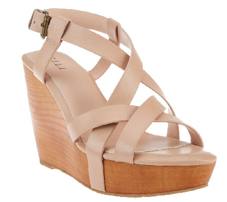 G.I.L.I. Leather Multi-strap Criss-cross Wedges - Brenda