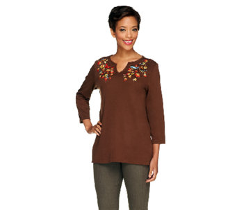 Quacker Factory Fall Feathers Split Neck 3/4 Sleeve T-shirt - A256183