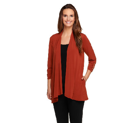 Susan Graver Liquid Knit 3/4 Sleeve Cardigan w/ Side Pockets