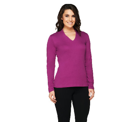 Isaac Mizrahi Live! Essentials Long Sleeve V-Neck Top