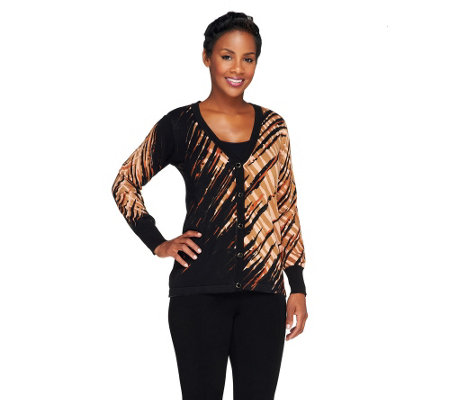Bob Mackie's Button Down Printed Cardigan with V-Neckline