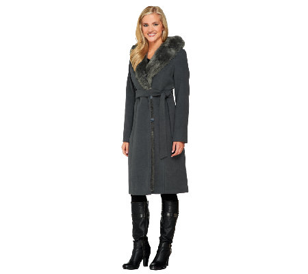 Dennis Basso Faux Wool and Fur Coat with Hood