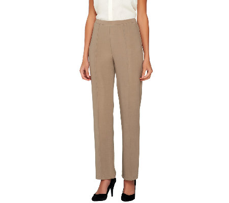 Susan Graver Lustra Knit Pull-On Straight Leg Pants - Regular