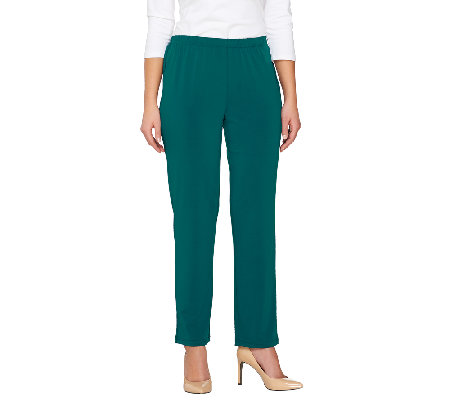 Bob Mackie's Petite Classic Straight Leg Pull-On Pants