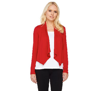Joan Rivers Long Sleeve Drape Front Jersey Knit Shrug - A261883