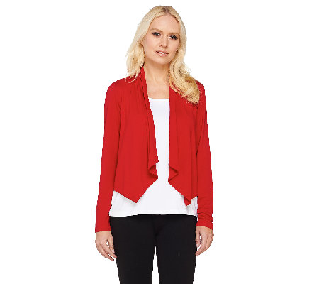 Joan Rivers Long Sleeve Drape Front Jersey Knit Shrug