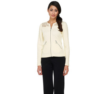 G.I.L.I. Quilted Jacket with Lace and Faux Leather Trim - A262683