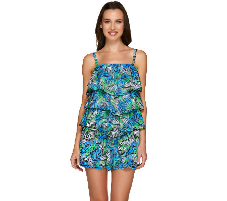 Fit 4 U Bandeau V-Tiered Romper Swimsuit