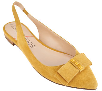 Sole Society Suede Sling Back Bow Flats - Akina - A263883