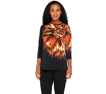 """As Is"" Susan Graver Liquid Knit Front Placement Print Tunic"