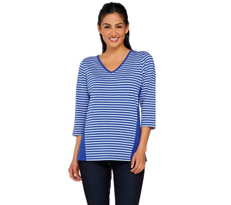 Denim & Co. Perfect Jersey Stripe Color-Block 3/4 Sleeve Top