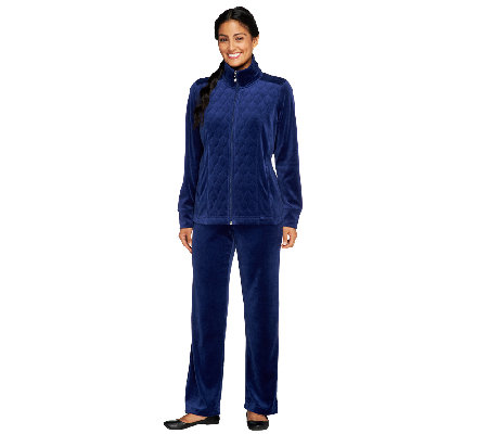 """As Is"" Denim & Co. Active Petite Velour Jacket & Pant Set"