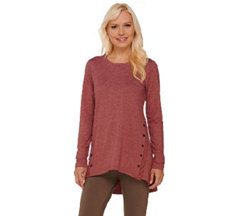 LOGO Lounge by Lori Goldstein French Terry Top with Lace & Button Detail - A266783