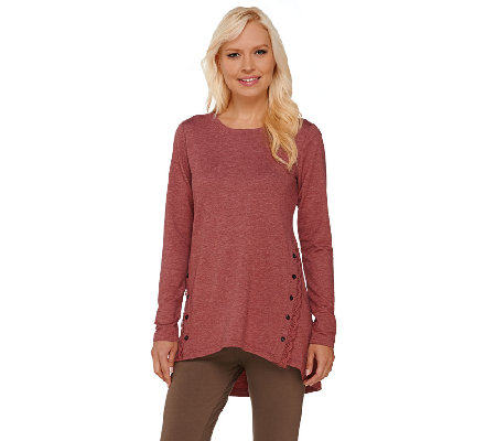 LOGO Lounge by Lori Goldstein French Terry Top with Lace & Button Detail