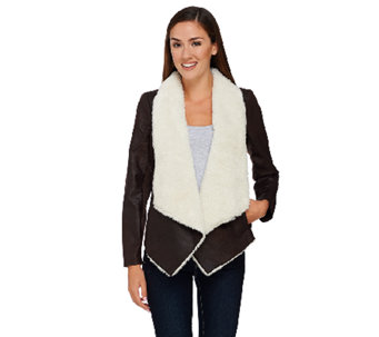 Lisa Rinna Collection Faux Suede Jacket with Sherpa Lining - A267483