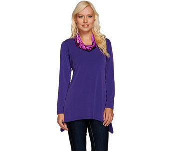 Susan Graver Liquid Knit Tunic with Printed Cowl Neck - A267983