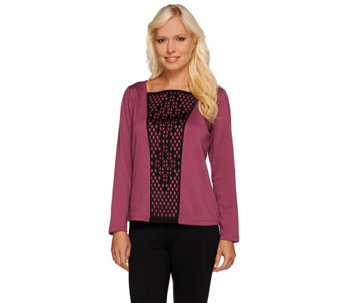 Bob Mackie's Square Neck Knit Top with Laser Cut Front Overlay - A268383
