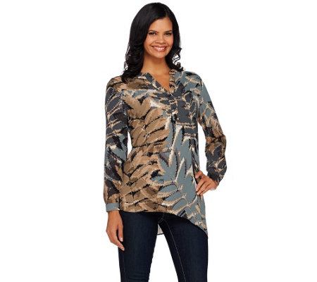 Susan Graver Printed Feather Weave Tunic w/ Asymmetrical Hem