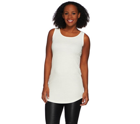 LOGO Layers by Lori Goldstein Thermal Knit Tank with Shirttail Hem