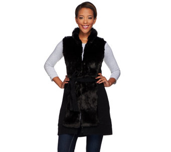 H by Halston Faux Fur Front Sweater Vest with Self Belt - A271083