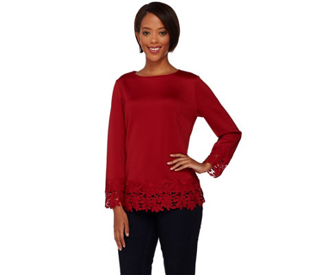 Isaac Mizrahi Live! Neoprene Lace Trim Top