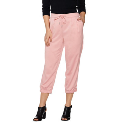 H by Halston Pull-On Cropped Jogger Pants with Drawstring