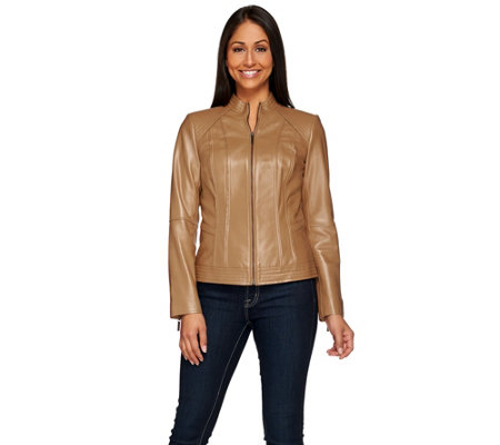 G.I.L.I. Zip Front Leather Jacket with Seaming Detail