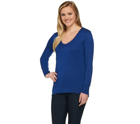 H by Halston Long Sleeve V-neck Knit Top with Seaming Details