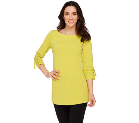 Susan Graver Passport Knit Bateau Neck Tunic