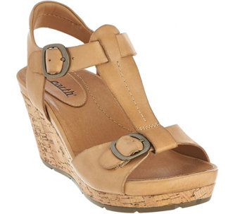 Earth Leather T-strap Cork Wedge Sandals - Scorpio - A274783