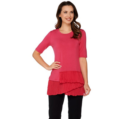 LOGO by Lori Goldstein Knit Top with Tiered Pleated Hem
