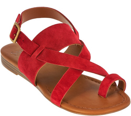 Franco Sarto Suede Multi-strap Sandals w/ Toe Band - Gia