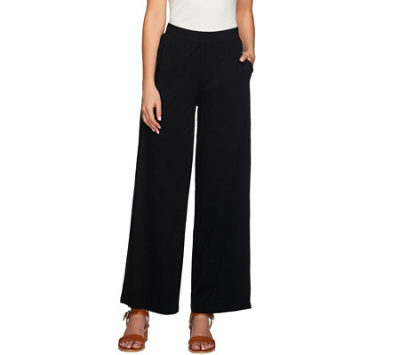 Denim & Co. Beach Solid Petite Pull-on Pants with Pockets