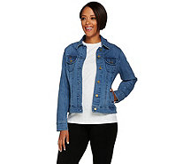 Isaac Mizrahi Live! TRUE DENIM Railroad Stripe Jean Jacket - A278083
