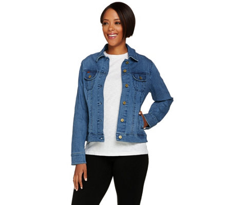 Isaac Mizrahi Live! TRUE DENIM Railroad Stripe Jean Jacket